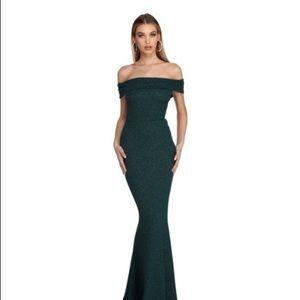 Hunter Green glitter formal dress